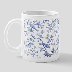 BlueBirdsOnWhiteLinen Small Mug