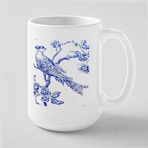 BlueBirdOnWhiteLinen Large Mug