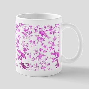 PinkBirdsOnWhiteLinen Small Mug