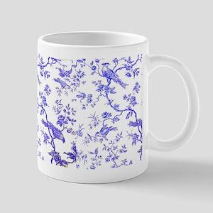 VioletBirdsOnWhiteLinen Small Mug