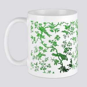 GreenBirdsOnWhiteLinen Small Mug