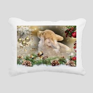 Christmas Corgi Puppy Rectangular Canvas Pillow