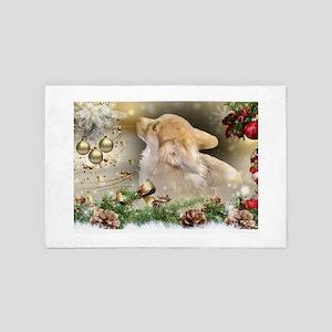 Christmas Corgi Puppy 4' x 6' Rug