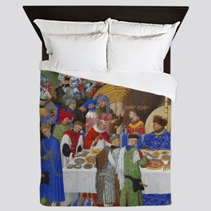 Medieval illustration Queen Duvet