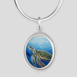 Sea Turtle Silver Oval Necklace