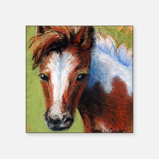 "Chincoteague Pony Foal Square Sticker 3"" x 3"""