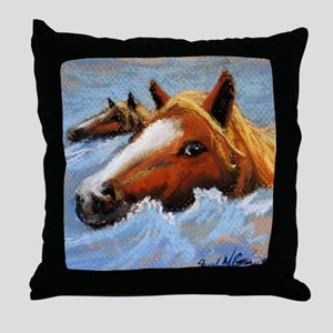 Chincoteague Island Pony Swim Throw Pillow