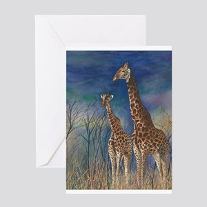 Giraffe Watercolor Portrait Greeting Cards