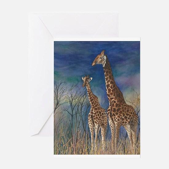 Giraffe Watercolor Portrait Greeting Cards