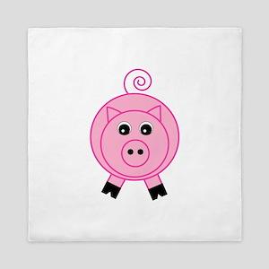 Cute Pink Pig Queen Duvet