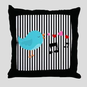 Singing Blue Bird Throw Pillow