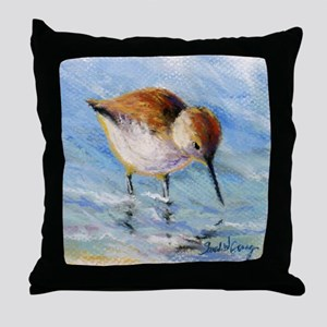 Wading Sandpiper Throw Pillow