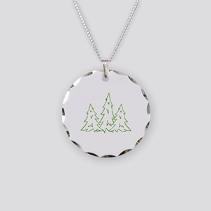 Three Pine Trees Necklace