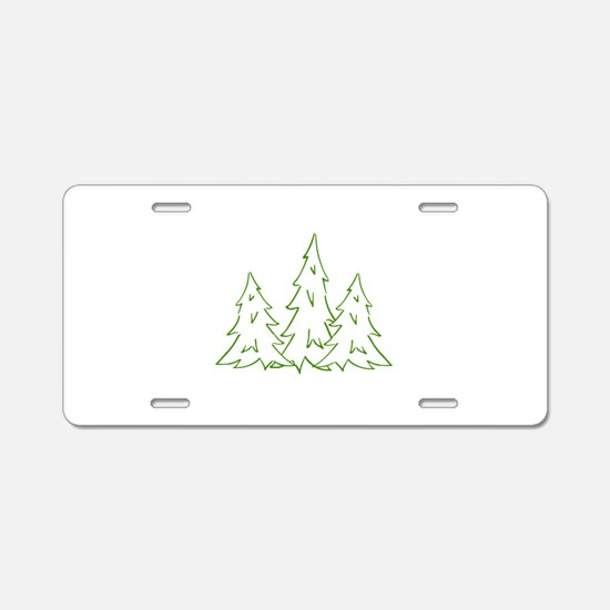 Three Pine Trees Aluminum License Plate