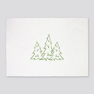 Three Pine Trees 5'x7'Area Rug