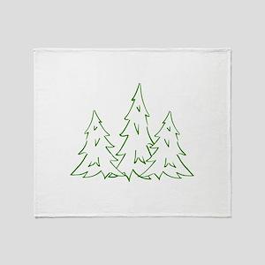 Three Pine Trees Throw Blanket