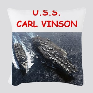 uss carl vinson Woven Throw Pillow