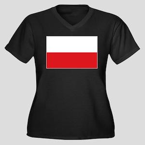 Polish flag Women's Plus Size V-Neck Dark T-Shirt