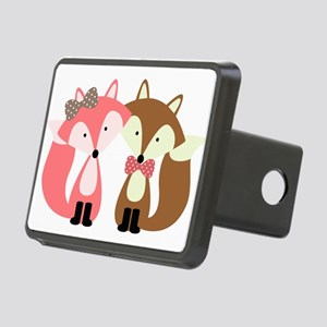 Pink and Brown Fox Couple Hitch Cover