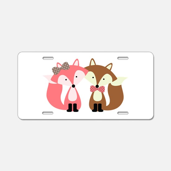 Pink and Brown Fox Couple Aluminum License Plate