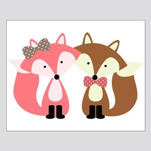 Pink and Brown Fox Couple Posters