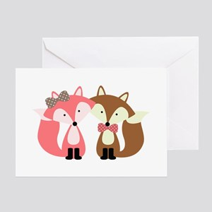 Pink and Brown Fox Couple Greeting Cards