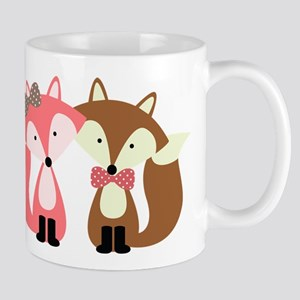 Pink and Brown Fox Couple Mugs