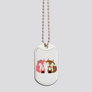 Pink and Brown Fox Couple Dog Tags