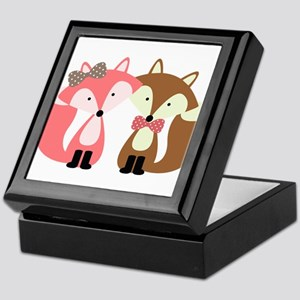 Pink and Brown Fox Couple Keepsake Box