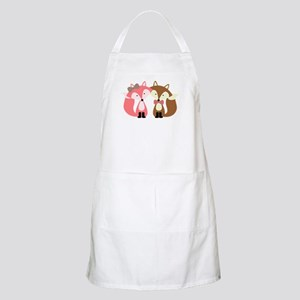 Pink and Brown Fox Couple Apron