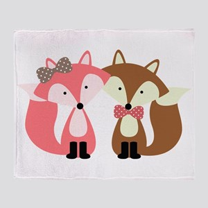 Pink and Brown Fox Couple Throw Blanket