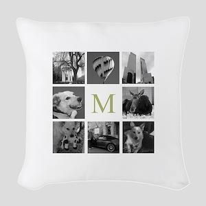 Monogrammed Photo Block Woven Throw Pillow