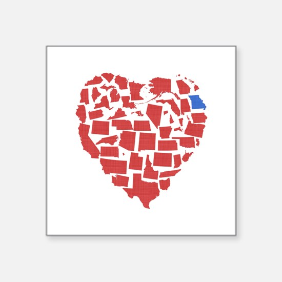 "Missouri Heart Square Sticker 3"" x 3"""