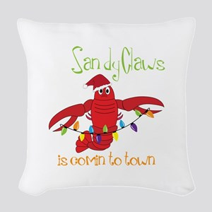 Sandy Claws is comin to town Woven Throw Pillow