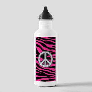 HOT PINK ZEBRA SILVER PEACE Water Bottle