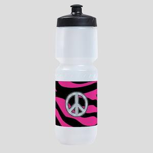 HOT PINK ZEBRA SILVER PEACE Sports Bottle