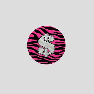 HOT PINK ZEBRA SILVER $ Mini Button
