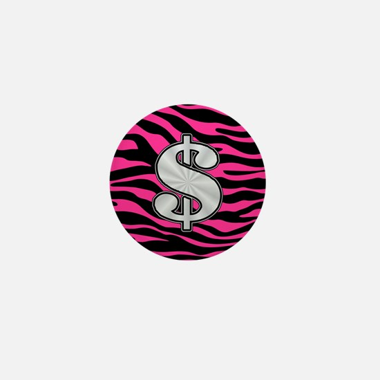 HOT PINK ZEBRA SILVER $ Mini Button