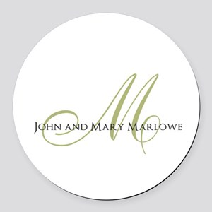 Names and Monogrammed Initial Round Car Magnet