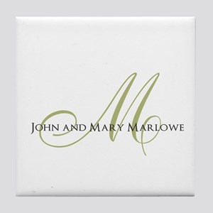 Names and Monogrammed Initial Tile Coaster