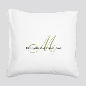 Names and Monogrammed Initial Square Canvas Pillow