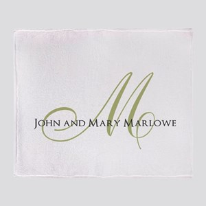 Names and Monogrammed Initial Throw Blanket