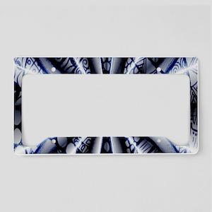 Celtic Knot Metallic Blue Sil License Plate Holder