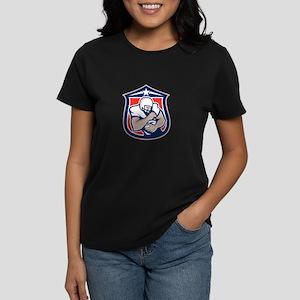 American Football Holding Ball Shield Retro T-Shir