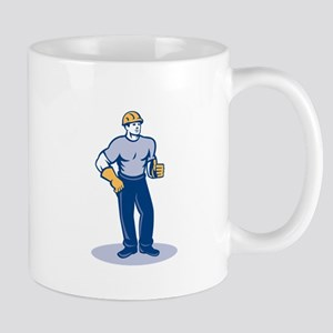 Construction Worker Thumbs Up Retro Mugs
