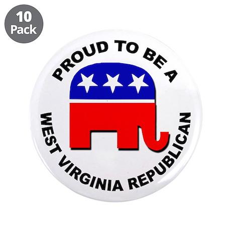 """Proud West Virginia Republic 3.5"""" Button (10 pack)"""