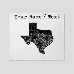Custom Distressed Texas Silhouette Throw Blanket
