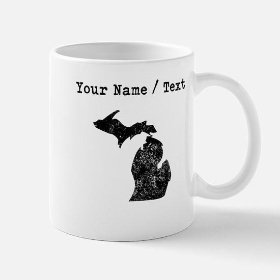 Custom Distressed Michigan Silhouette Mugs
