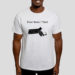 Custom Distressed Massachusetts Silhouette T-Shirt