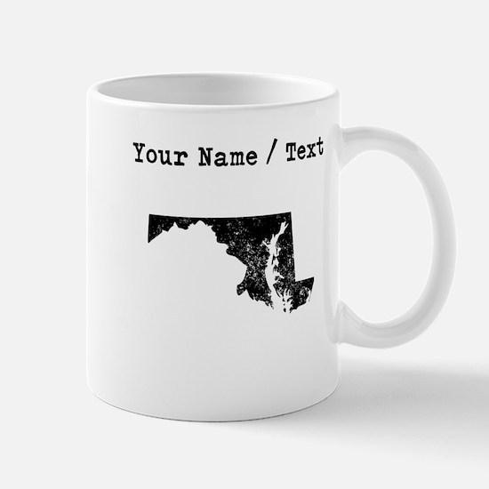 Custom Distressed Maryland Silhouette Mugs